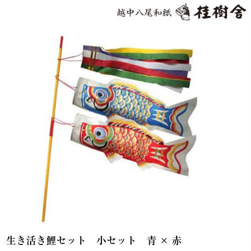 【桂樹舎】 069 鯉のぼりセット小セット(青×赤) 日本の心がこもる【越中八尾の和紙】