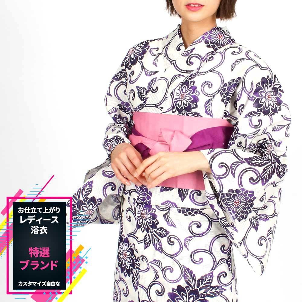 浴衣 女性 大人のゆかた 追加オプションでフルセットに ブランドゆかた レディース浴衣 単品 すぐに着られるお仕立て上がり浴衣[風の雅-綿絽-]unk48024