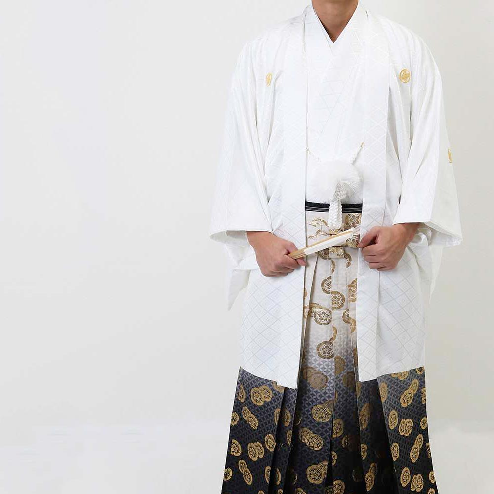 【レンタル】【成人式・卒業式】男性用レンタル紋付き袴フルセット-7087