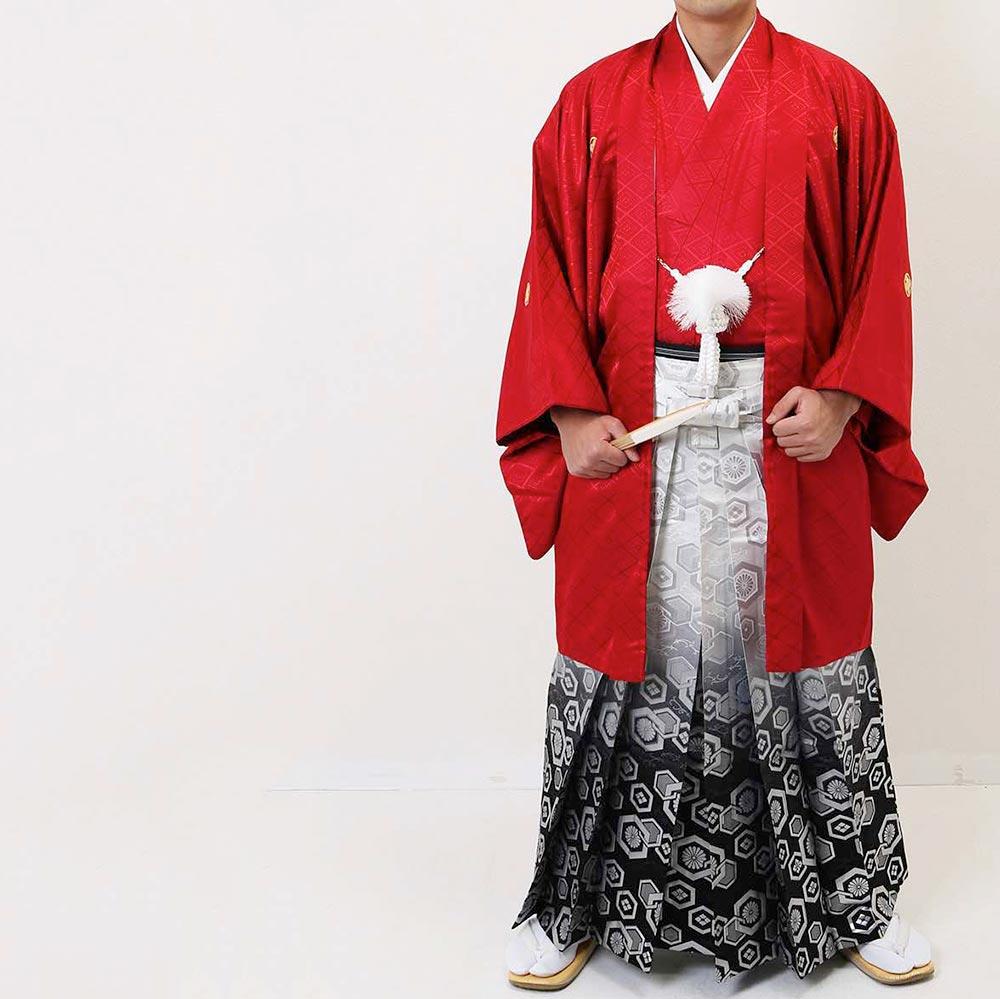 【レンタル】【成人式】安心の最大1ヶ月レンタル可能|男性用レンタル紋付き袴フルセット-7228