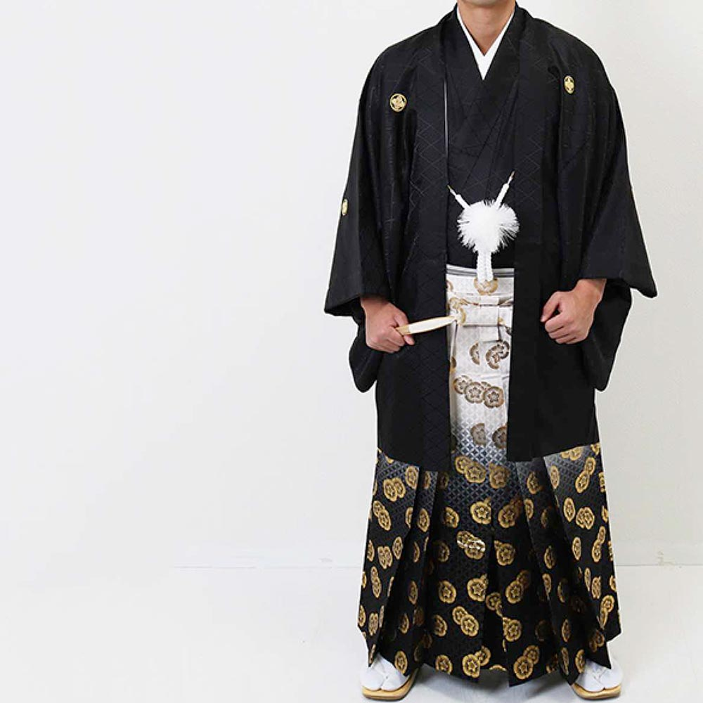 【レンタル】【2020年成人式】安心の最大1ヶ月レンタル可能|男性用レンタル紋付き袴フルセット-7281