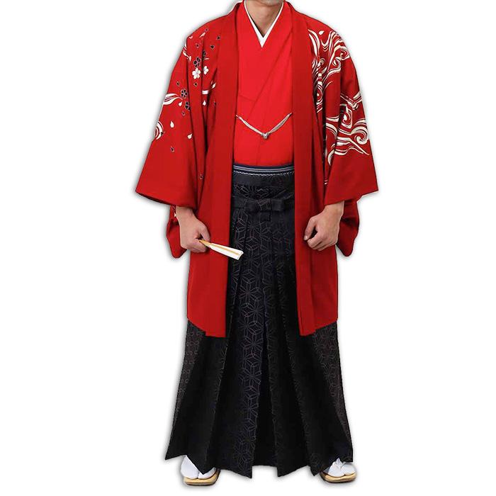 【レンタル】【成人式】安心の最大1ヶ月レンタル可能|男性用レンタル紋付き袴フルセット-7297