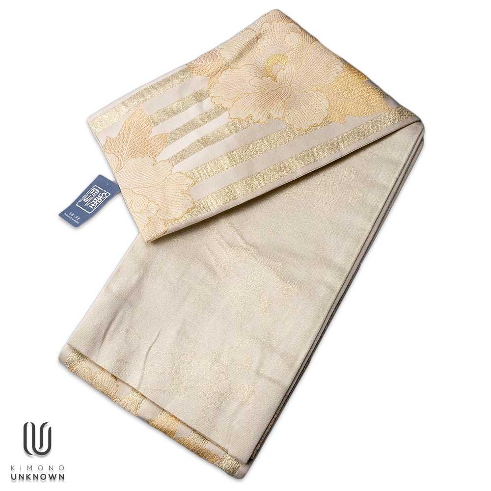 半巾帯【ゆかた帯】|京都岡重|花柄|牡丹|ボーダー|白|ゴールド|骸骨|