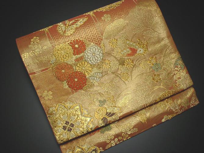 正絹袋帯 朱色地に花模様【!】【あす楽】