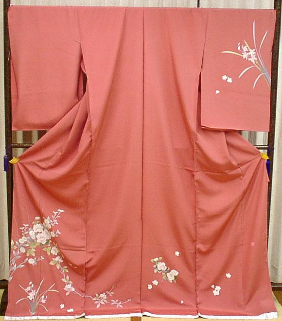 正絹訪問着シックな大人ピンクに四季の花【あす楽】