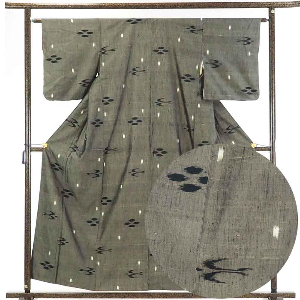 【中古】リサイクル着物 紬 / 正絹茶グレー地袷紬着物 / レディース【裄Sサイズ】【あす楽】身丈158cm 裄62cm 前幅24.5cm 後幅30cm 袖丈49cm