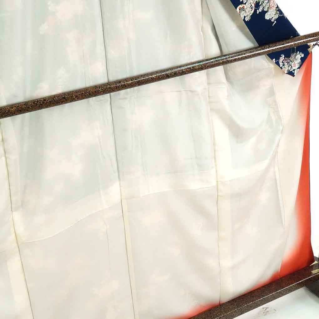 リサイクル着物 小紋正絹紺地花車模様袷小紋着物 レディース 秋冬春用 シルク100% ネイビー 裄Mサイズ あす楽 身丈1tCsBhQdxr