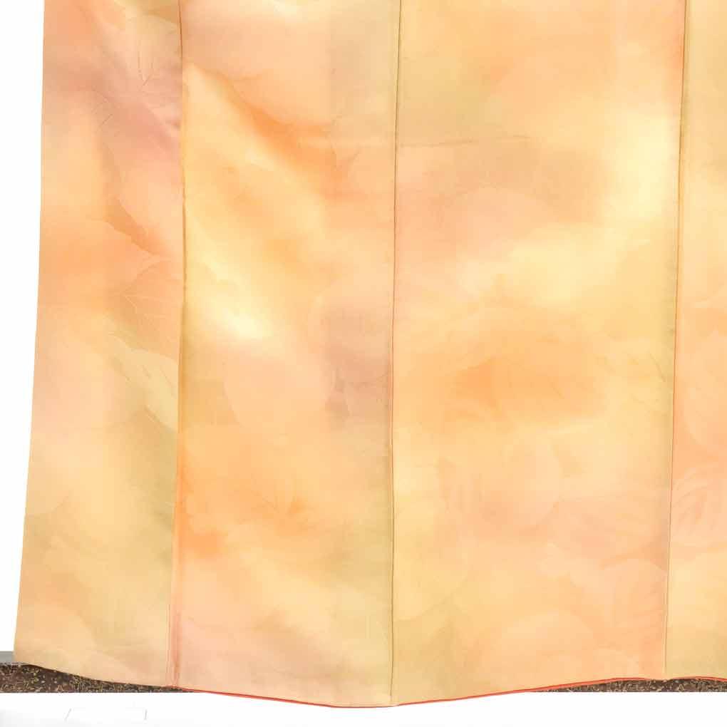 【中古】リサイクル着物 色無地 / 正絹オレンジぼかし袷色無地 レディース 秋冬春用 シルク100% オレンジ 裄Mサイズ【あす楽】身丈162cm 裄64cm 前幅23cm 後幅28cm 袖丈49cm