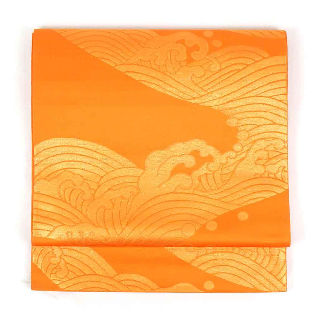 幅30cm 長さ432cm ランクA 正絹オレンジ地波頭模様全通袋帯 フォーマル 商品番号A22957 リサイクル帯 袋帯 中古品 シルク あす楽 古着 おトク 秋冬春用 全商品オープニング価格 フリーサイズ 中古 オレンジ レディース