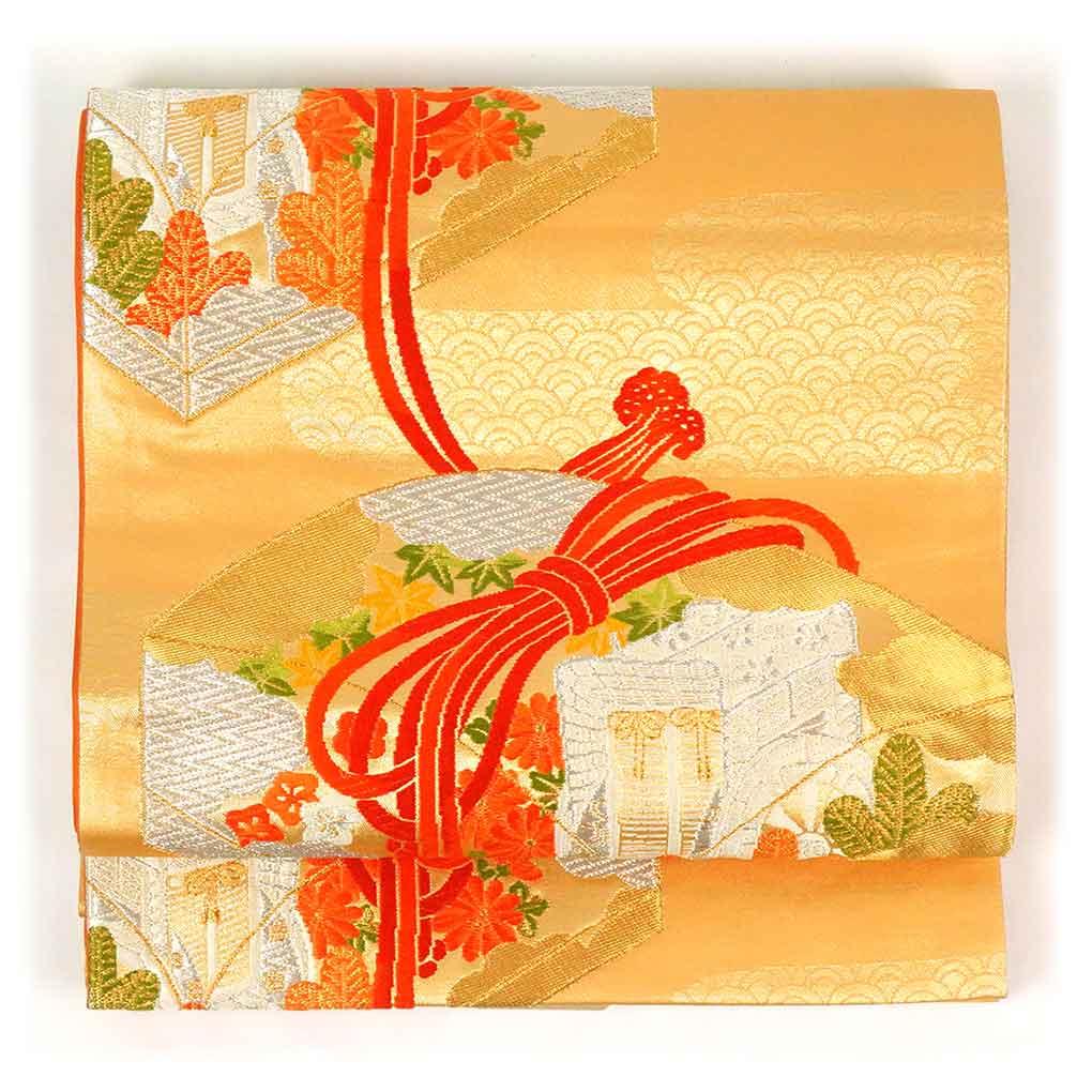 <title>幅30.5cm 長さ410cm ランクA 正絹オレンジ地文箱柄六通袋帯 フォーマル 商品番号A22966 リサイクル帯 袋帯 中古品 古着 中古 お気に入り レディース 秋冬春用 シルク オレンジ フリーサイズ あす楽</title>