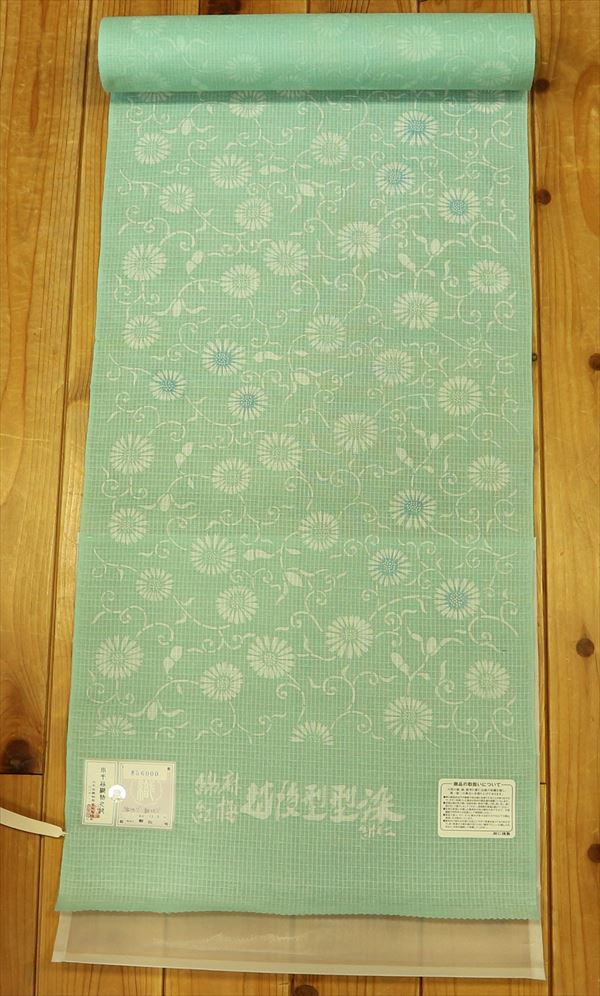 小千谷織物綿麻紅梅 越後型型染ゆかた巾広反物のため ユキ 長くできます。yukao93473-049