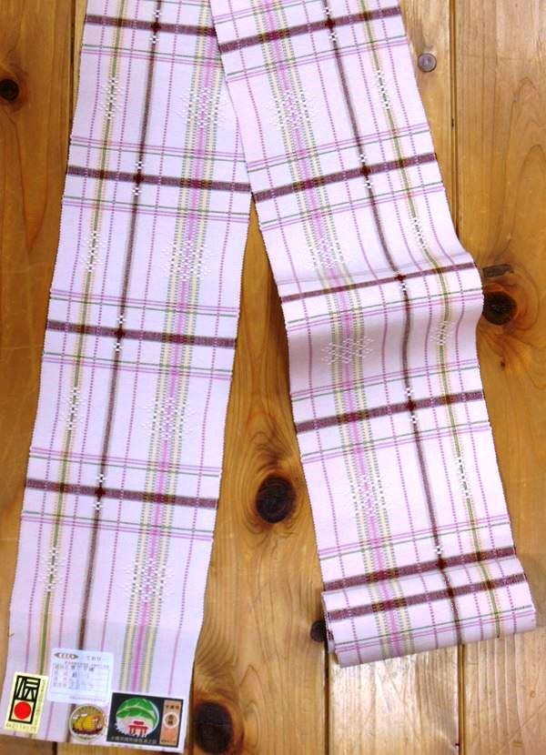 沖縄県伝統工芸品 経済産業大臣指定伝統工芸品 首里織のゆかた帯  製造者 比嘉浩子染織は化学染料ですが見るほどに深い味わいのある帯yukao44698-017