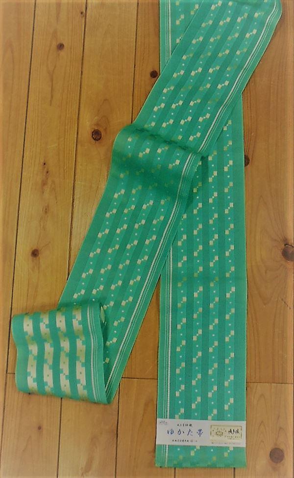 森博多織株式会社謹製 婦人ゆかた帯青っぽい緑に粋な角通し柄生成りの細縞がひっそりと流れるおしゃれなゆかた帯 Yukao6663-022