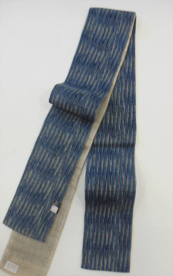 静岡県浜松市 榎本株式会社謹製麻100%ゆかた帯藍染調の紺絣に縞柄見る人に落ち着いた印象を与えます。 Yukao06149-027