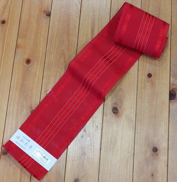 森博多織株式会社謹製 婦人ゆかた帯真っ赤な紗織の帯細い縞が上品なゆかた姿をより一層優雅に!おしゃれなゆかた帯ですね yukao93463-050