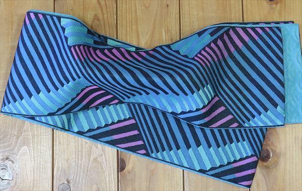 片面幾何学文様片面青海波おしゃれなゆかた帯ですねyukao059-021