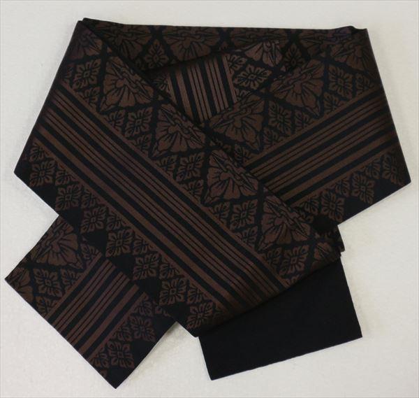 縞柄の左右に向鶴と菱菊が描かれモダンでシックなゆかた帯ですね裏面は黒yukao0no128-029