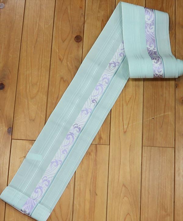 森博多織株式会社謹製 婦人ゆかた帯淡い青緑地に太縞 細縞が美しく描かれ太い縞には波が描かれが涼しさを醸し出しています!おしゃれなゆかた帯ですね yukao93463-053