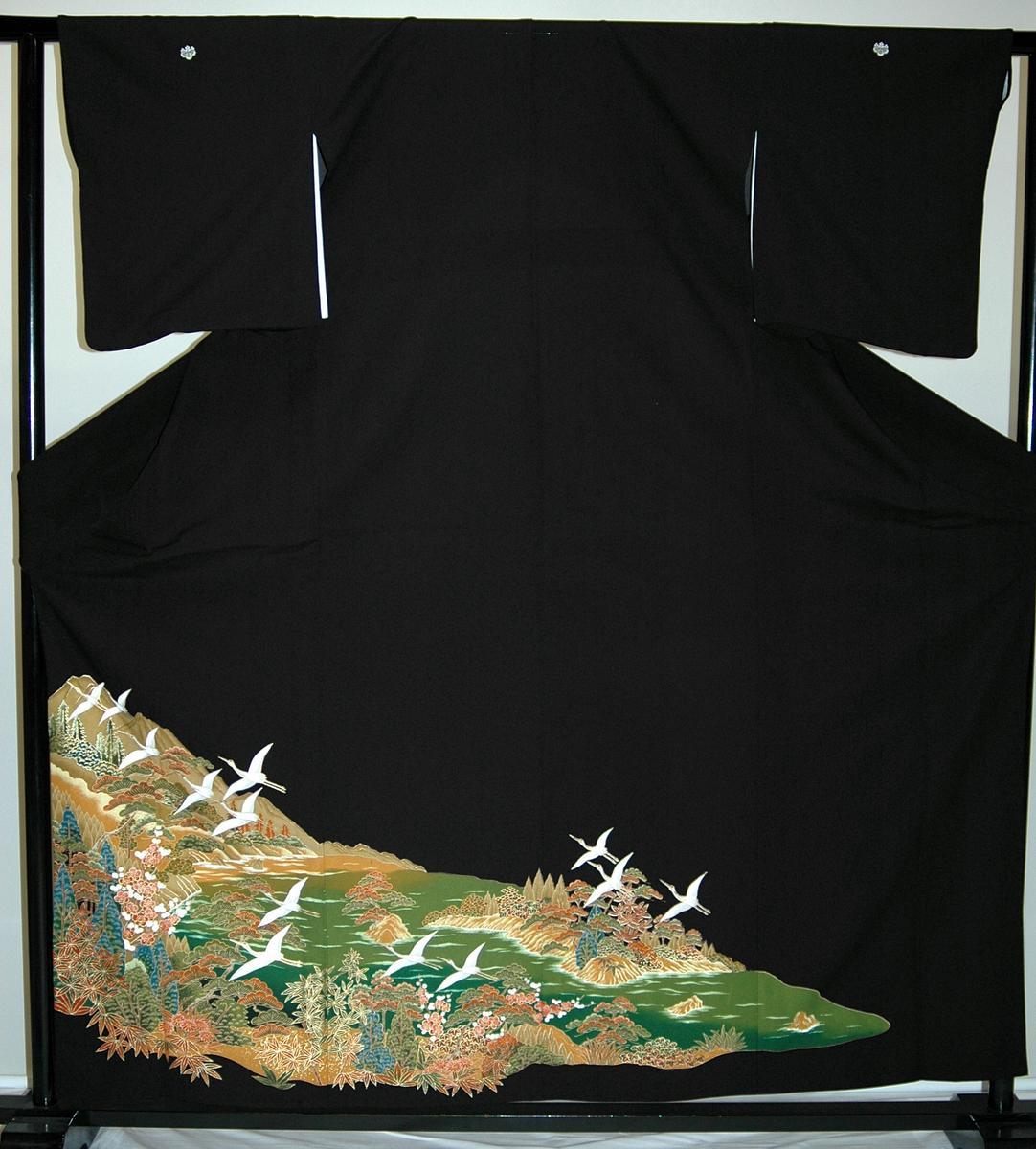 【レンタル】【貸衣裳】 rt292単衣・グリーンに小鶴 留袖 【貸衣装】秋のキャンペーン
