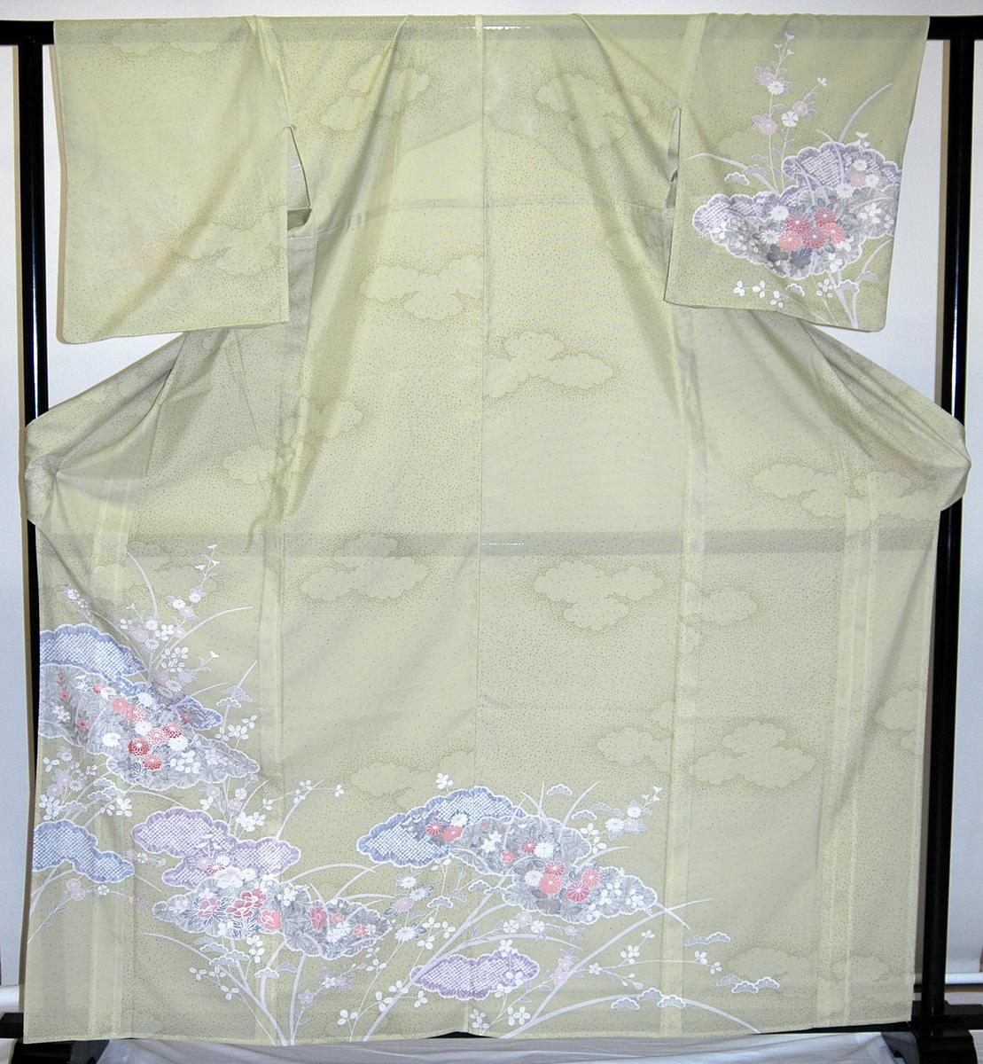 【レンタル】【貸衣裳】 RH580 絽単衣・淡いグリーン 訪問着 【かしいしょう】 送料無料【smtb-k】