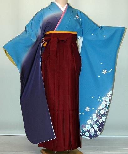 【レンタル】振袖、袴(はかま)レンタル【青・青紫・緑系】【HF735】標準/L寸/7号/9号/11号/13号/秋のキャンペーン