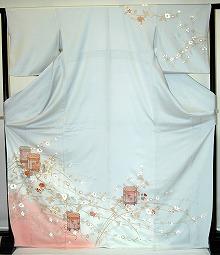 【レンタル】【貸衣裳】 RH565 グレー地裾ピンク 単衣附下 【貸衣装】 送料無料【訪問着】春のキャンペーン