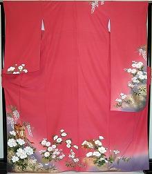 【レンタル】振袖レンタル 2002 【赤・ピンク・赤紫系】【RS746】標準 L寸 7号 9号 11号 13号