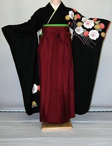 【レンタル】振袖、袴(はかま)レンタル【黒・茶・グレー系】【HF752】標準/L寸/7号/9号/11号/13号/秋のキャンペーン