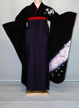 【レンタル】振袖、袴(はかま)レンタル【黒・茶・グレー系】【HF771】標準/L寸/7号/9号/11号/13号/秋のキャンペーン