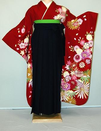 【レンタル】振袖、袴(はかま)レンタル【赤・ピンク・赤紫系】【HF754】標準/L寸/7号/9号/11号/13号/秋のキャンペーン