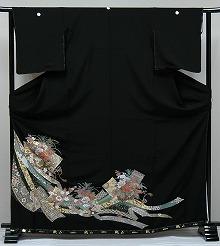 【レンタル】【送料無料】黒留袖レンタルフルセット RT139:花車のしめ留袖 結婚式〔レンタル黒留袖〕〔留袖レンタル〕〔留め袖〕〔女性和装〕〔着物レンタル〕〔和服〕【smtb-k】