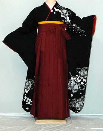 【レンタル】振袖、袴(はかま)レンタル【黒・茶・グレー系】【HF812】標準/L寸/7号/9号/11号/13号/秋のキャンペーン