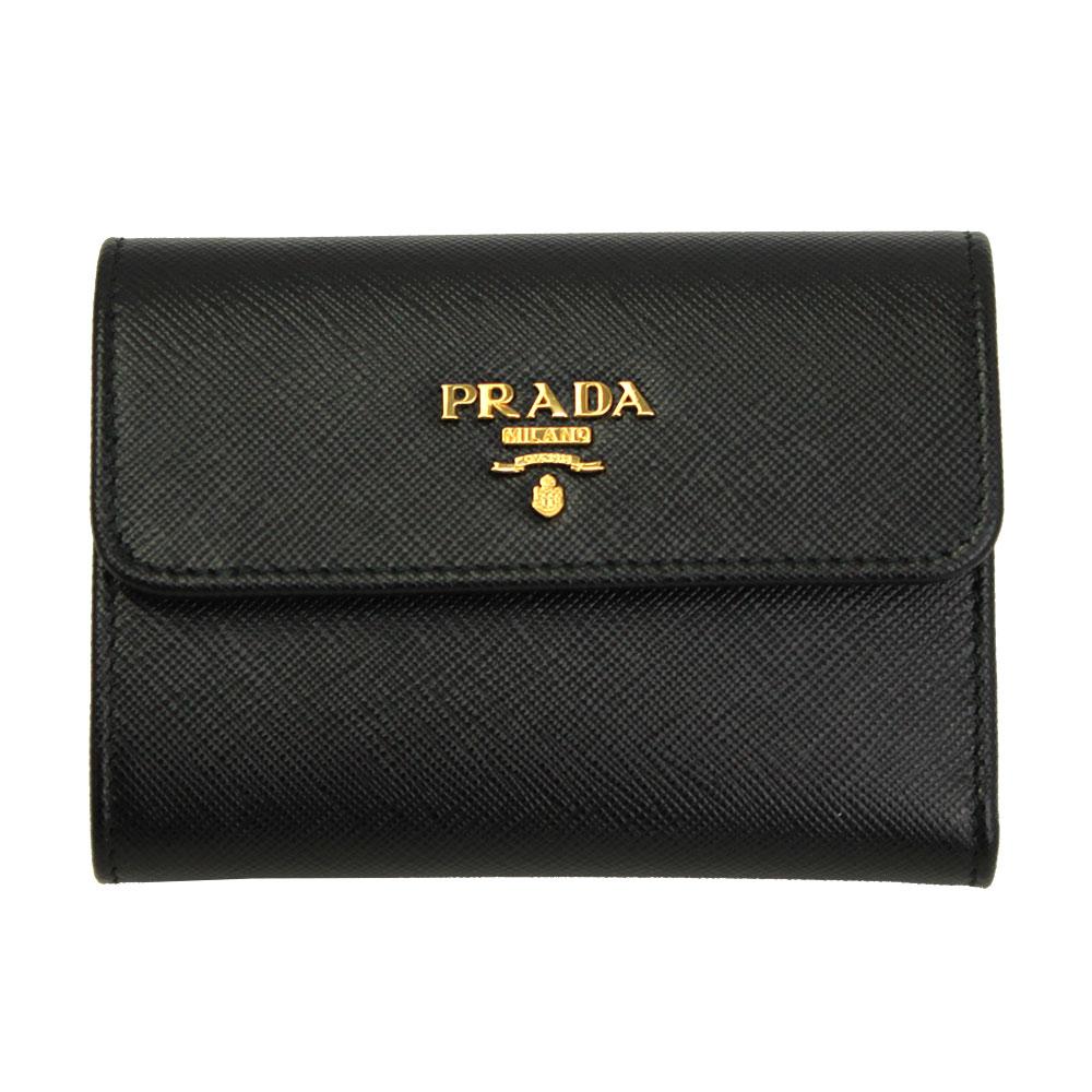 プラダ 財布 レザー ブラック 1MH840 PRADA 三つ折り財布 レディース 1MH840 SAFFIANO METAL NERO
