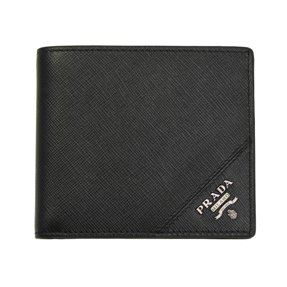 プラダ 財布 レザー ブラック 2MO738 PRADA 二つ折り財布 メンズ SAFFIANO METAL NERO 2MO738 QME F0002
