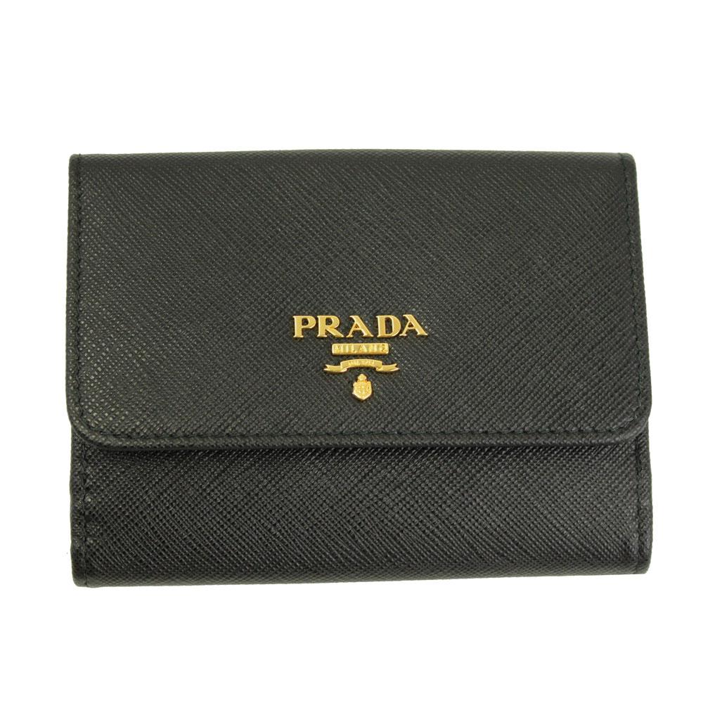 ad5775eb59d3 プラダ 財布 レディース ブラック 1MH523 新品 プラダ 財布 レザー ブラック 1MH523 PRADA Wホック 二つ折り