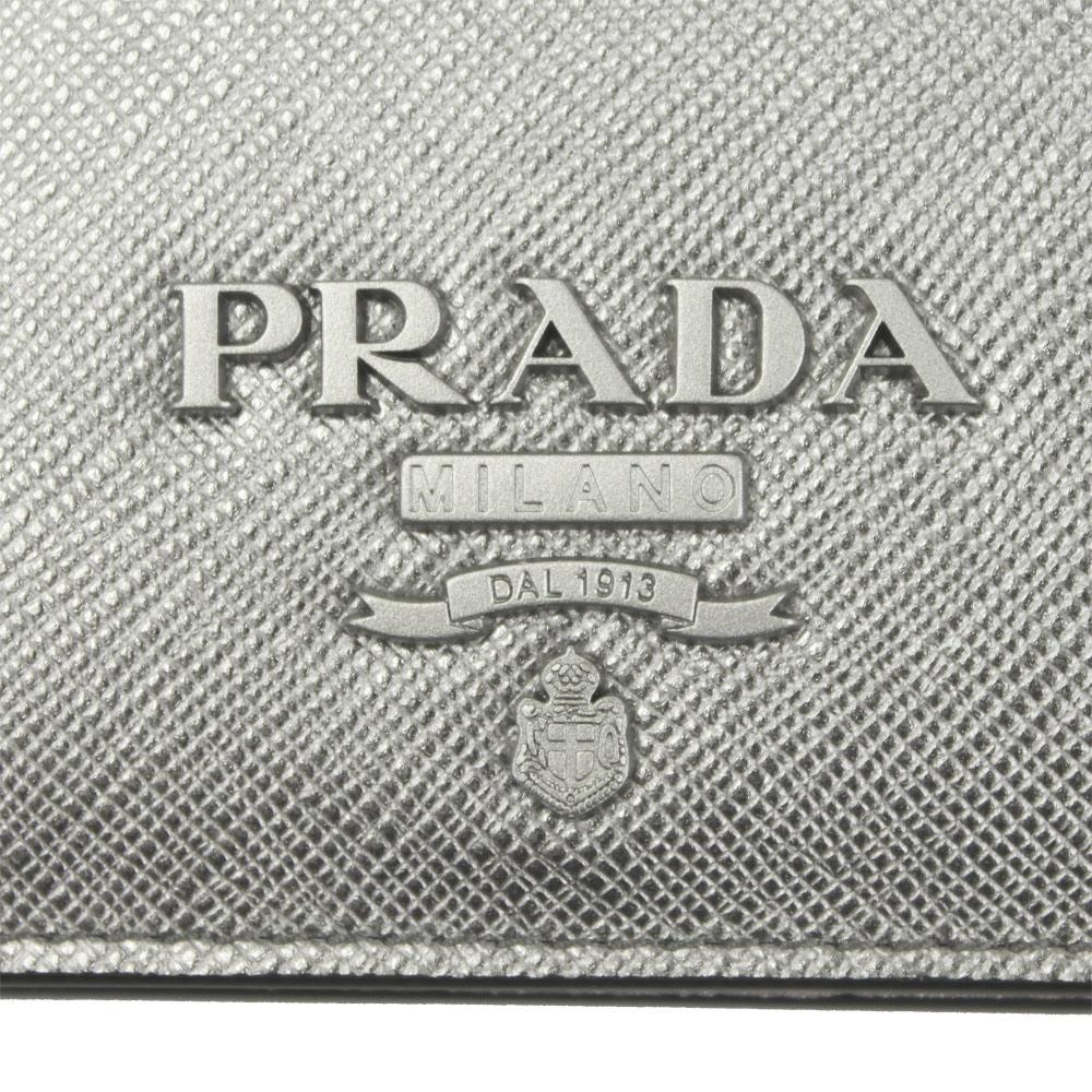 プラダ 財布 レザー シルバー 1MV204 PRADA 2つ折り財布 SAFFIANO SHINE CROMO 1MV204 2EBW F0135