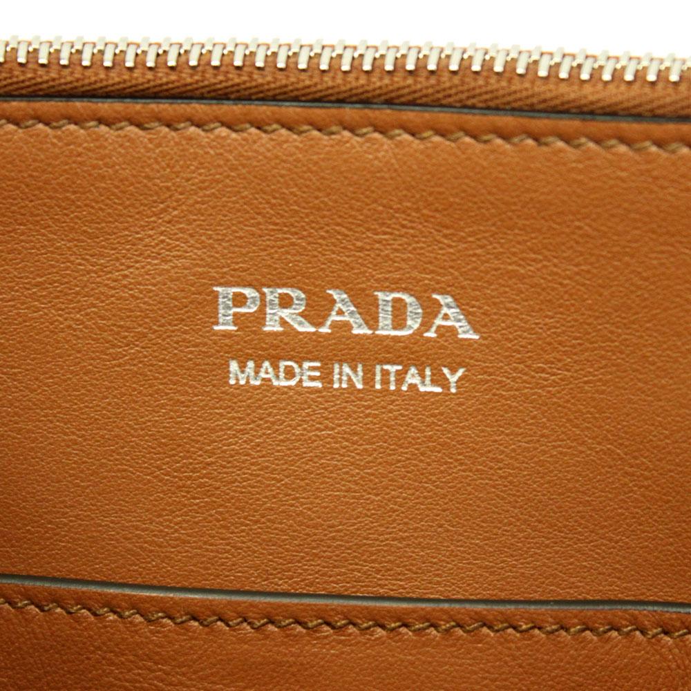 プラダ バッグ レザー 1BA175 PRADA コンセプトバッグ 2WAYハンド/ショルダーバッグ スタッズ メタルパーツ 1BA175 GRACE LUX COGNAC+BIANCO
