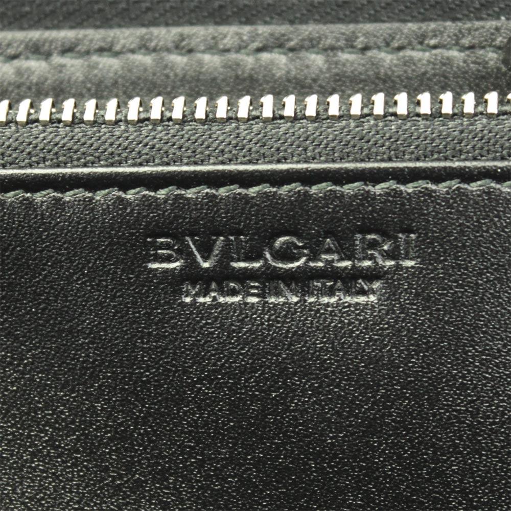 ブルガリ 財布 32587 BVLGARI ラウンドファスナー長財布 メンズ ウィークエンド コーティング キャンバス レザー ブラック/グレー