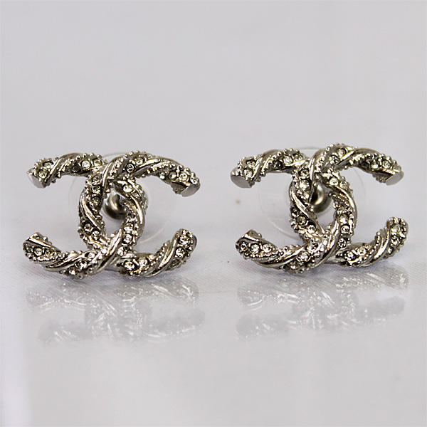 Chanel Earrings Coco Mark Silver A63057 2