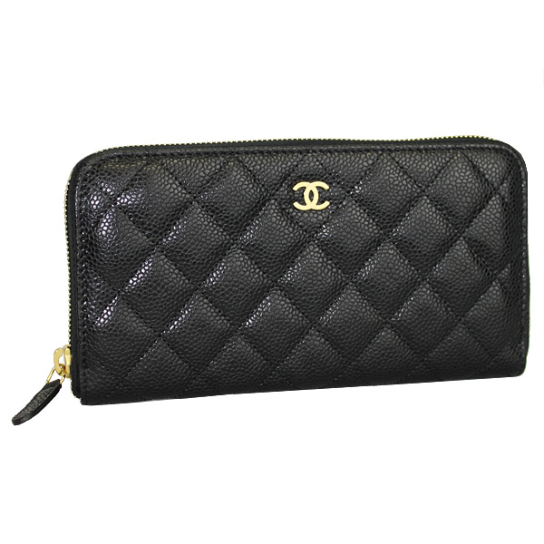 8dd3e072a827dc Chanel large zip around wallet caviar skin black / gold metal A50097 Y01864  C3906 02P30May15 ...