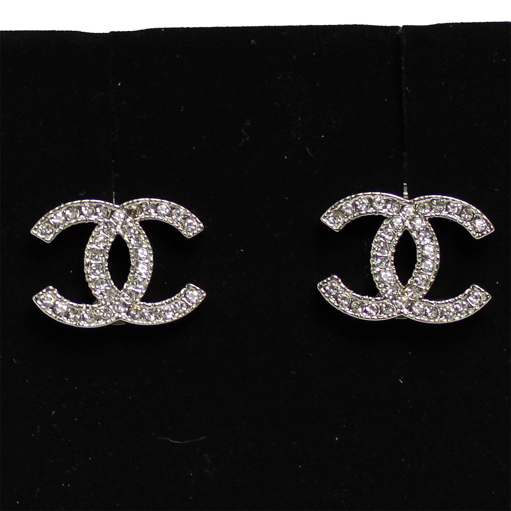 Chanel earrings Coco mark silver rhinestone A42175 Y02003 Z2371
