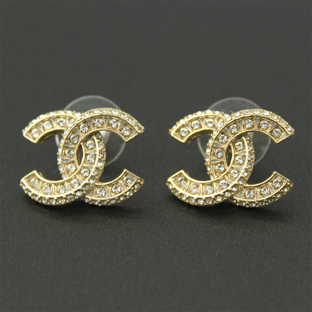 Chanel earrings gold rhinestone A86504 Y09569