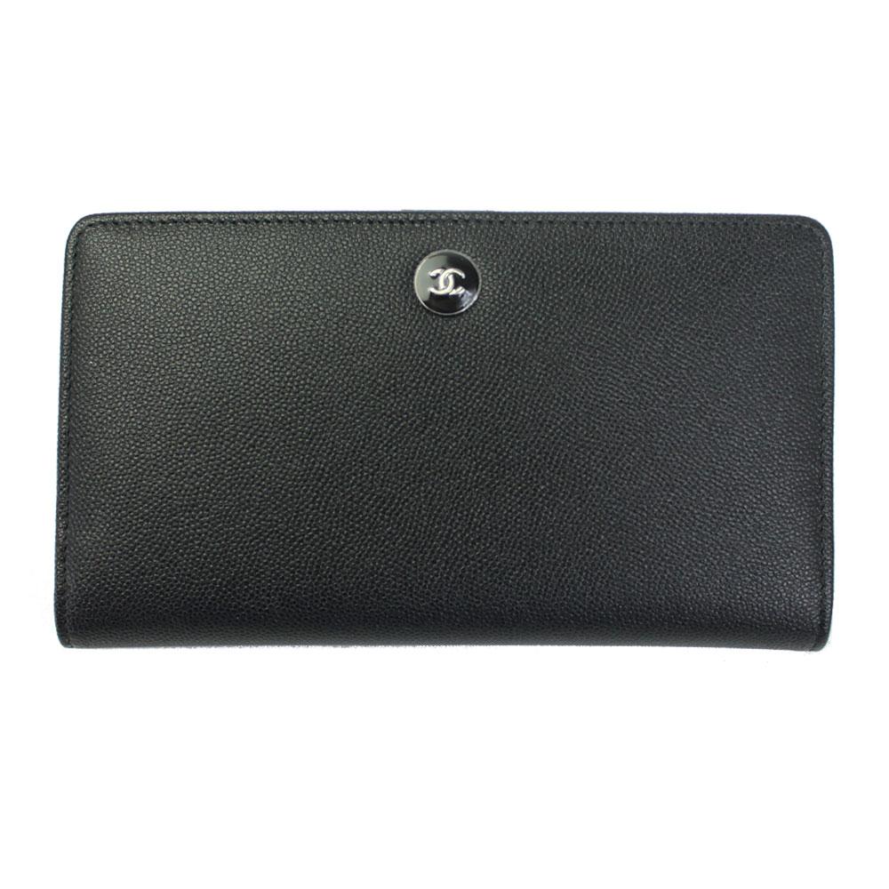 【新品】 【CHANEL】 シャネル 二つ折り長財布 ブラック キャビアスキン A84066 Y25523 94305