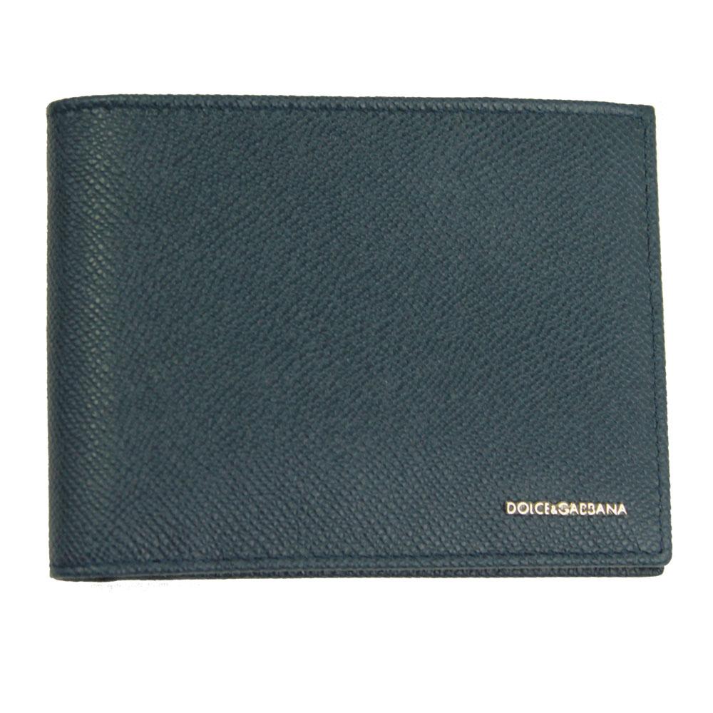 【新品】 【DOLCE&GABBANA】 ドルチェ&ガッバーナ 二つ折り札入れ 財布 メンズ ブルーネイビー レザー BP0437 B3432 80653