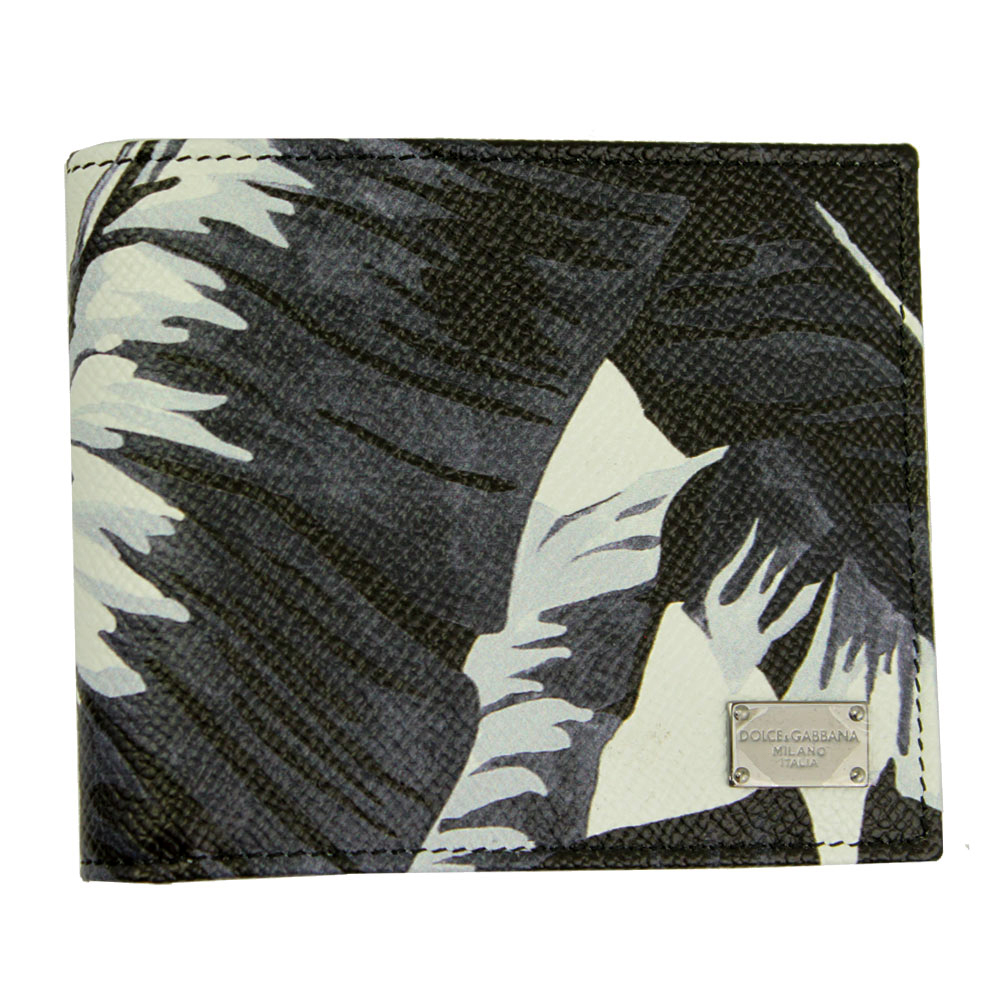 【新品】 【DOLCE&GABBANA】 ドルチェ&ガッバーナ 二つ折り札入れ 財布 メンズ レザー バナナリーフプリント BP1321 AB059 HN609-2