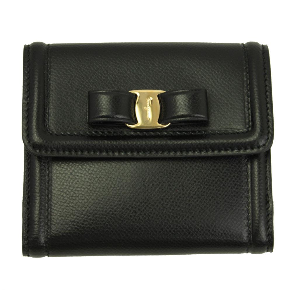 フェラガモ 財布 レザー ブラック 22C911 FERRAGAMO Wホック財布 型押しレザー 22C911 NERO