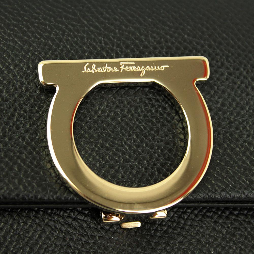 フェラガモ 財布 レザー ブラック 22D430 FERRAGAMO 長財布 ガンチーニ IDケース付き 22D430 700087