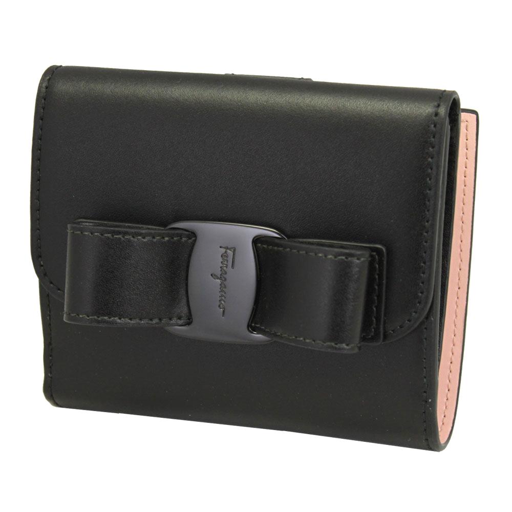 フェラガモ 財布 レザー ブラック 22D268 FERRAGAMO Wホック 二つ折り財布 ヴァラ・リボン 内側ライトピンク系 22D268 0691208