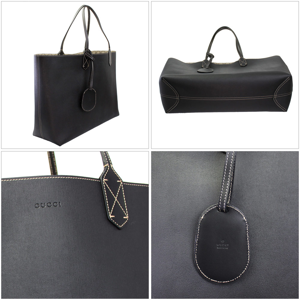 Gucci reversible Tote Bag Black / beige leather 368571 A9810 9769