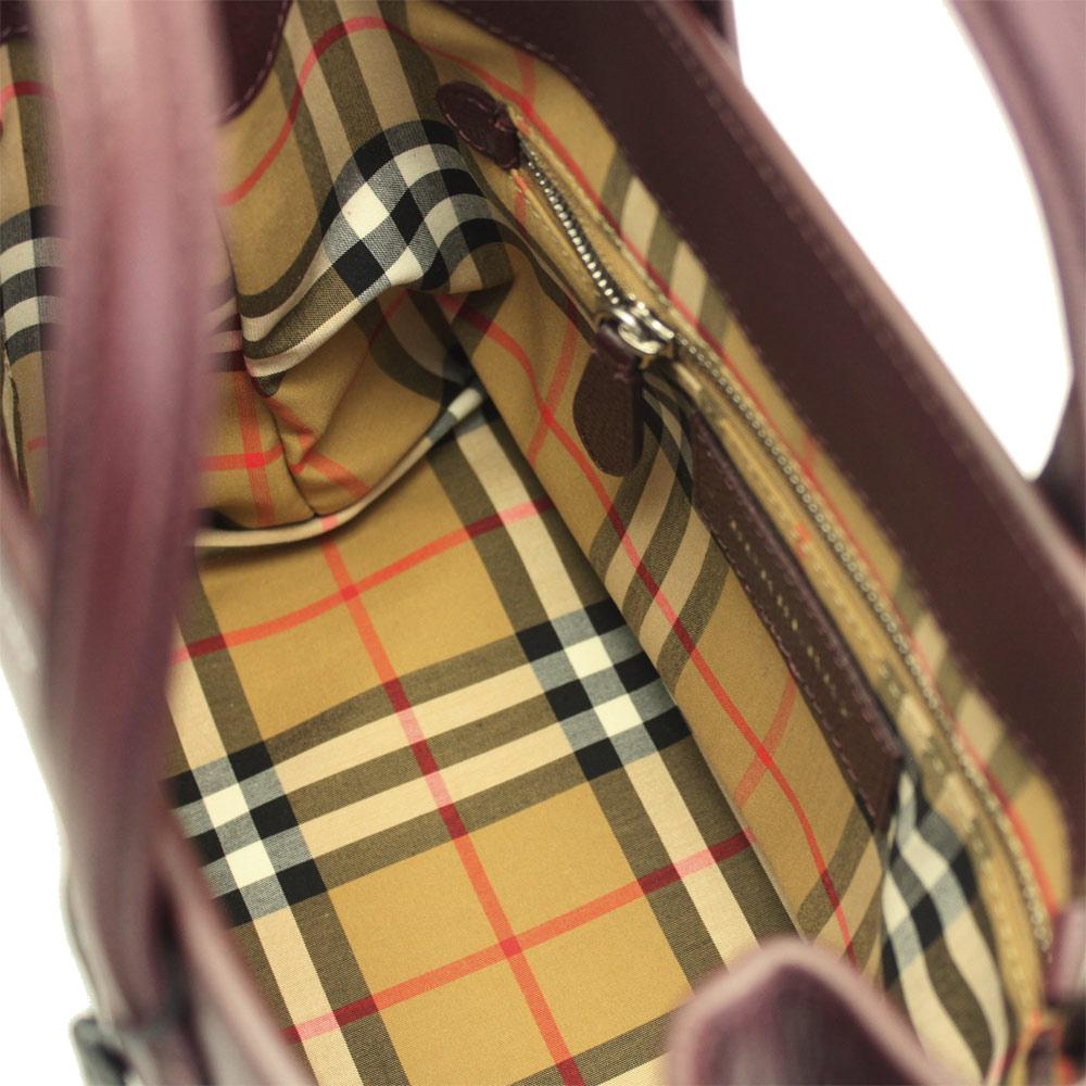 バーバリー バッグ 4076637 BURBERRY ハンドバッグ ショルダーバッグ 2WAY スモール バナー イン レザー&ヴィンテージチェック マホガニーレッド